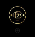 logo d f b monogram gold thin ring with curls vector image vector image