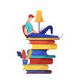 man reading ebook flat vector image vector image
