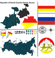 Map of Republic of North Ossetia Alania vector image vector image
