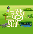 maze game of the crocodile duck and wolf to find vector image