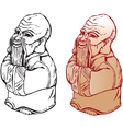 netsuke figure black and white and color pictures vector image