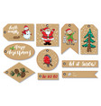 new year and christmas gift tags set hand drawn vector image