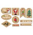 new year and christmas gift tags set hand drawn vector image