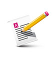 pencil with paper notebook symbol document icon vector image