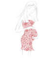 Pregnant woman in floral dress vector image vector image