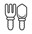 rake and shovel line style icon vector image vector image