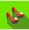 Red high heel women shoes icon flat style vector image vector image