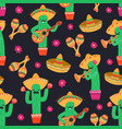 seamless pattern with cute funny mexican cactus vector image
