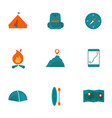 set camping icons vector image