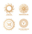 set of elegant monogram design templates vector image
