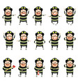 set of flat firemen cartoon character icons vector image vector image