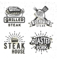 Set of logos design with grilled steak and grilled vector image vector image