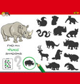shadows game with rhinoceros characters vector image vector image