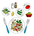 Sketch of vegetarian salad with ingredients vector image