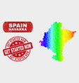 spectrum mosaic navarra province map and distress vector image vector image
