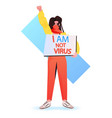 stop asian hate woman in mask protesting against vector image vector image