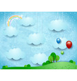surreal landscape with hanging clouds and balloons vector image