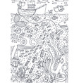 under water sea life drawn in line art style vector image
