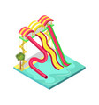 water slides in pool isometric 3d element vector image vector image
