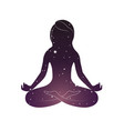 woman is sitting in lotus posture vector image vector image