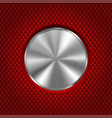 metal round button on red stainless steel vector image