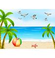 a beach with birds