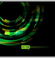 abstract green colors circles on a black vector image vector image