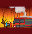 accident scene with forest fire vector image