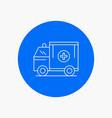 ambulance truck medical help van white line icon vector image vector image