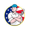 American Plumber Worker With Adjustable Wrench vector image vector image