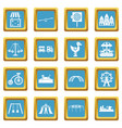 Amusement park icons azure