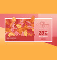 autumn sale background template leaves web banner vector image vector image