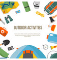 banner round camping and tourism on an outdoor vector image