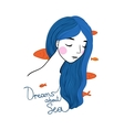 Beautiful young girl with fish in her hair vector image vector image