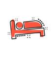 bed icon in comic style sleep bedroom cartoon vector image