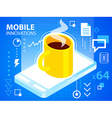 bright mobile phone and coffee on blue backg vector image vector image