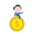 businessman sitting on dollar money coin vector image