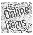 Buying Home Theater Systems Online Word Cloud vector image vector image