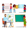 character explain educational material set vector image
