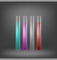 chemical test tube set with colored liquids vector image vector image