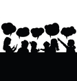 children with speech bubble silhouette vector image vector image