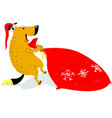 christmas dog character in santas hat the dog is vector image