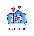 creative photography logo template love story vector image
