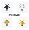 creativity icon set four elements in diferent vector image vector image