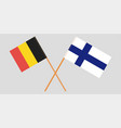crossed belgium and finland flags official colors vector image vector image