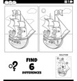 differences educational game with pirate coloring vector image vector image