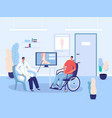 disabled patient in wheelchair hospital doctor vector image