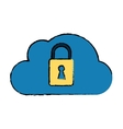 drawing cloud data security system technology vector image vector image