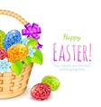 Easter eggs with flowers in bucket vector image