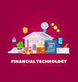 financial technology flat composition vector image vector image